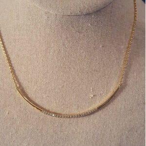 Stella & Dot gold crescent reversible necklace